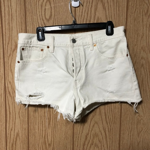 Levi's White Button Fly Distressed Shorts